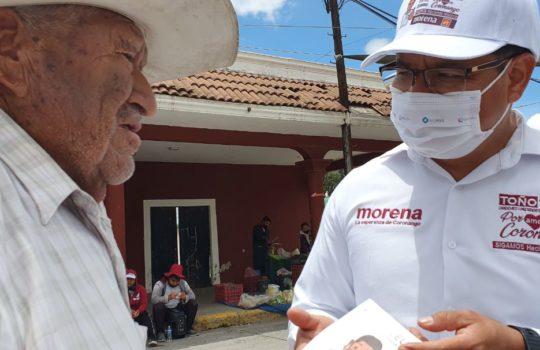 Realizó campaña Toño Teutli en San Antonio Mihuacán