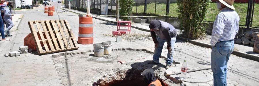Hundimiento en Camino Nacional en Coronango, fue reparado