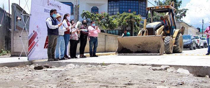 Angélica Alvarado pone en marcha obras de concreto hidráulico y entrega apoyos económicos en gira de trabajo en Nepopualco