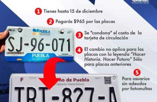 Canje de Placas Estado de Puebla