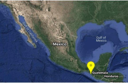 Se registra sismo de magnitud preliminar 4.6 en Mapastepec, Chiapas