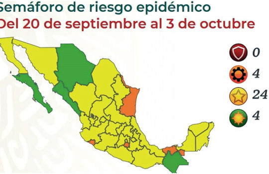 Secretaría de Salud pone a 24 estados en Amarillo y cuatro en verde por covid-19